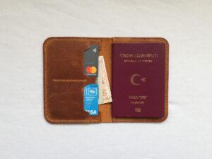 el yapımı hakiki deri pasaport kılıfı