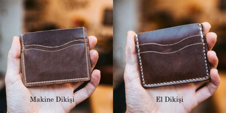 Makine ve el dikişi hakiki deri cüzdan